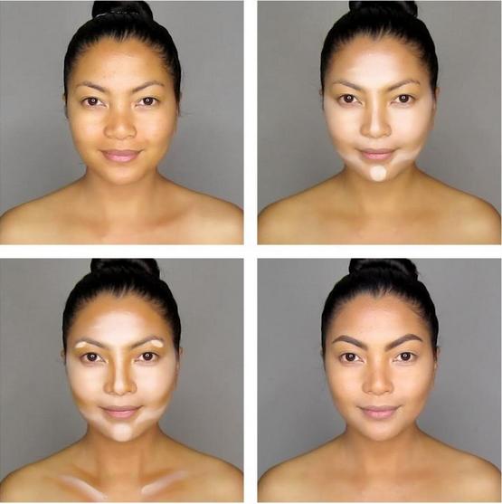 Contourning cuatro imágenes chica oriental